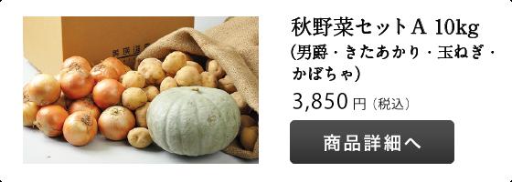 秋野菜Aセット(男爵・きたあかり・玉ねぎ・かぼちゃ)10kg